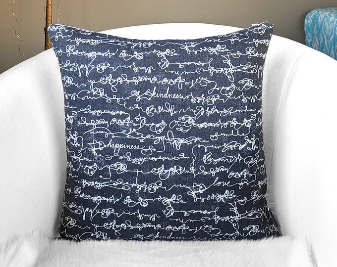 Black Script Pillow Cover