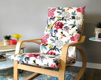 White Flowers Ikea Poang Chair Cover, Customized Flower Print Ikea Seat Cover, Candid Moment Ebony