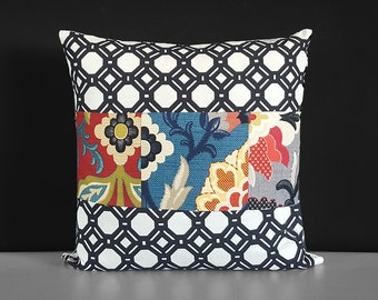 Patchwork Black White Floral Pillow Cover