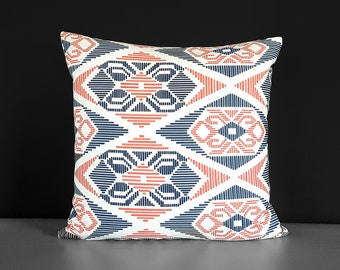 Navy Coral Pink Tribal Pattern Pillow Cover