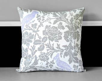 Cockatoo Floral Gray Pattern Pillow Cover