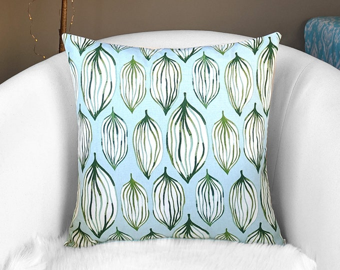 Blue Green Melon Print Throw Pillow Cover