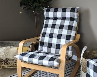 IKEA Poang Farmhouse Buffalo Check Slipcover, Black Ikea Chair Cover