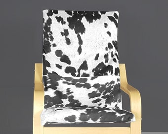 Black Faux Cowhide Animal Print IKEA KIDS POÄNG Cushion Slipcover