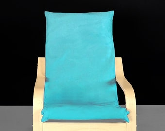 Solid Teal Blue Suede Childs Ikea Poang Chair Cover