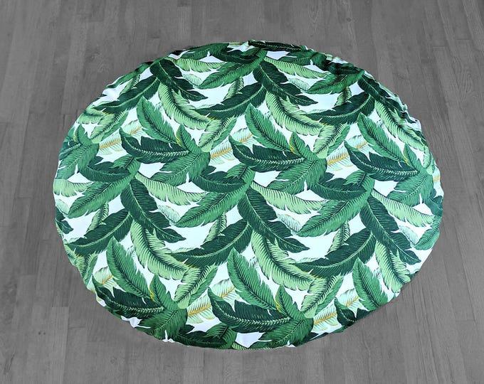 Tropical Leaf Print, Custom Dihult Slipcover, Customized Ikea Floor Pillow Covers, Ikea Dihult Covers