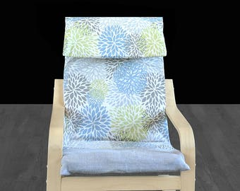 Linen Floral Blossom Kids Ikea Poang Seat Cover
