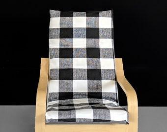 Ikea Kids Poang Chair Cover, Black Buffalo Check Pattern
