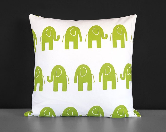Green White Elephants Pillow Cover