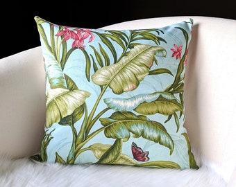 Tropical Banana Leaf Blue Pillow Cover