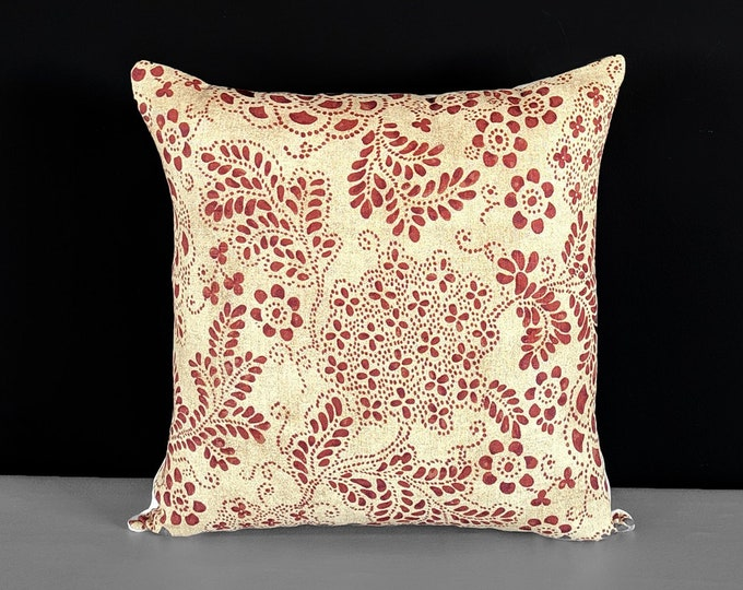 Paisley Dot Red, Beige Floral Pillow Cover