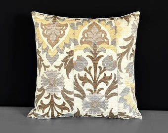 Brown Patchwork Floral Pillow Cover, Santa Maria Moonstone
