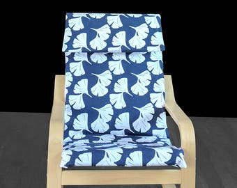 Ikea Kids Poang Chair Cover, Blue Floral Print
