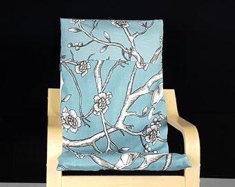 Light Blue Patchwork Flower Print IKEA KIDS POÄNG Cushion Slipcover