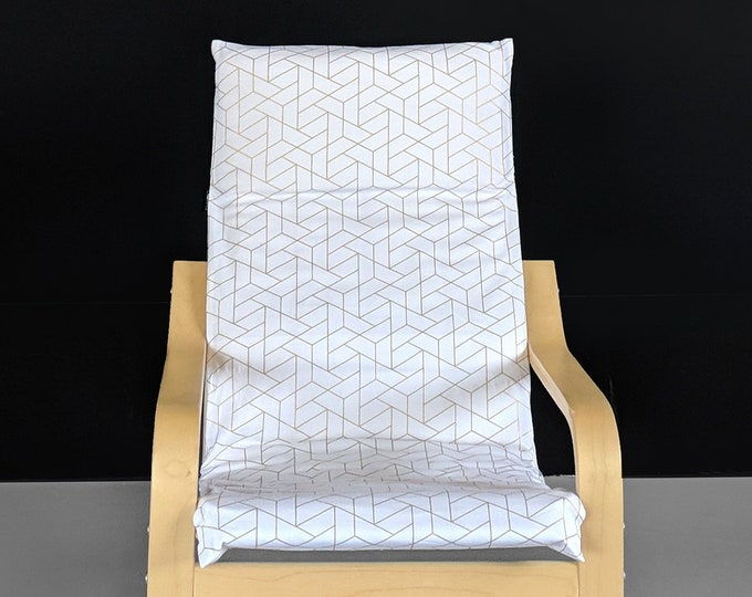 White Metallic Gold Patterned Childs POÄNG Cushion Slipcover