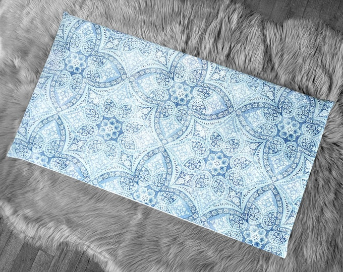 Lacy Denim Blue IKEA HEMMAHOS Bench Pad Slip Cover, Damask