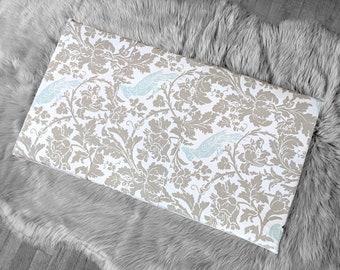 Cockatoo Bird Print IKEA STUVA Bench Pad Slip Cover, Gray Floral