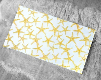 Starfish Yellow Window Seat Pad, IKEA STUVA Bench Pad Slip Cover, Ocean Theme