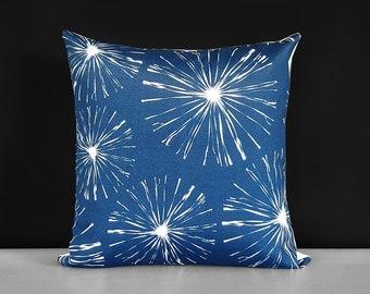 Blossom Sparks Navy Blue White Pillow Cover