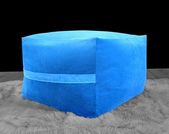 IKEA Jordbro Bean Bag Covers, Velvet Blue Ottoman, Jewel Tones