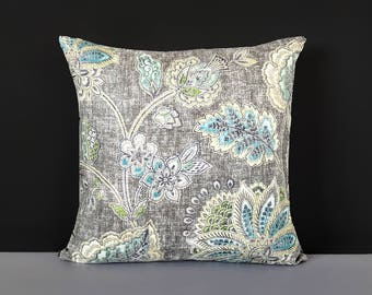 Gray Blue Floral Pillow Cover