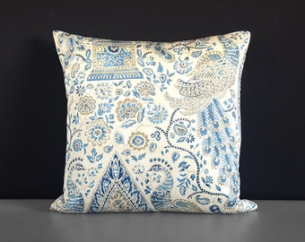 Traditional Blue Peacock Beige Floral Pillow Cover