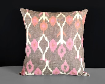 Brown Pink Ikat Pillow Cover