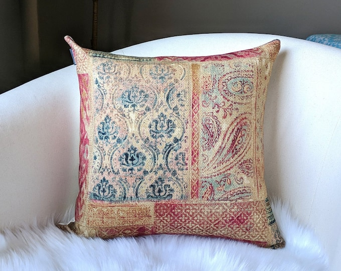 Red Turkish Kilim Style Printed Pillow Cover