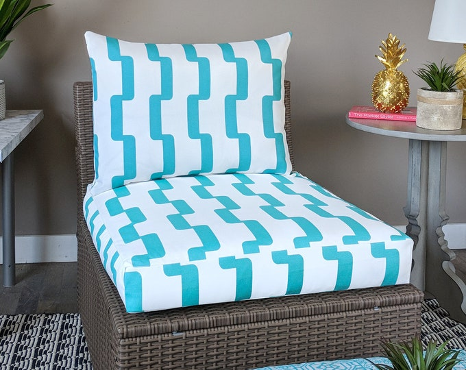IKEA Geometric OUTDOOR Slip Cover, Ikea Cushion Covers, Custom Ikea Decor, Bespoke Arholma Covers, Rhyme Turquoise Blue