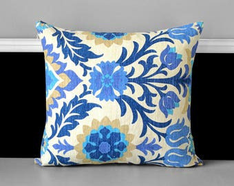 Blue Floral Damask Pillow Cover, Santa Maria Azure
