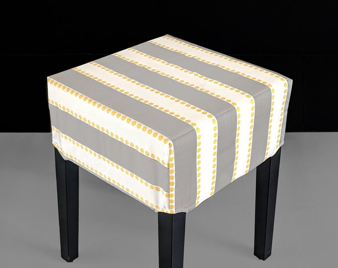 Gray Stripes, Yellow Dots Stool Cover for IKEA Nils