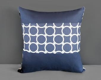 Patchwork Nautical Navy Blue Circles Pillow Cover