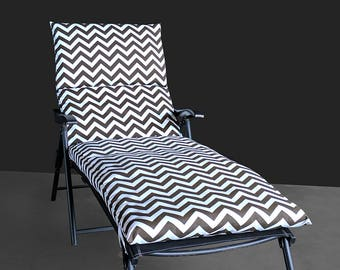 IKEA OUTDOOR Lounge Slip Cover, Chaise, Folding Chair Pad Cover, Zig Zag Chevron Brown