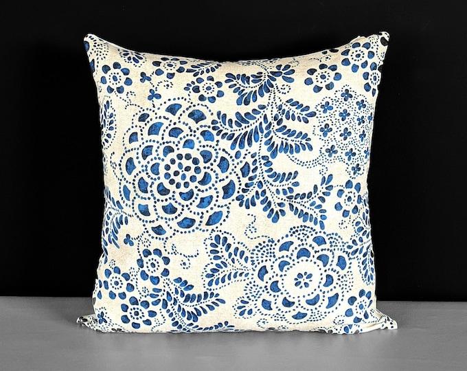 Paisley Dot Blue, Beige Floral Pillow Cover