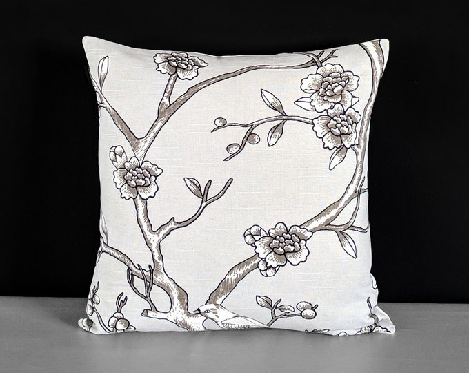 Gray Floral Dwell Studio Vintage Blossom Dove Pillow Cover, Ready to Ship