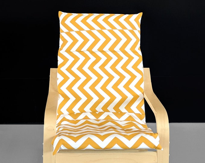 Golden Yellow White Chevron, IKEA KIDS POÄNG Seat Cover