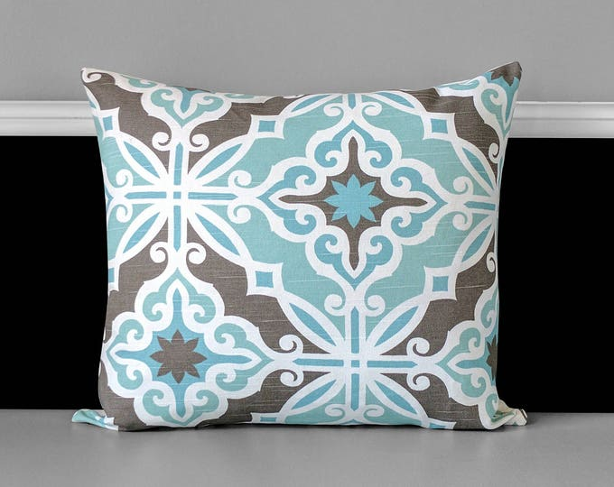 Blue Moroccan Tile Print Pillow Cover