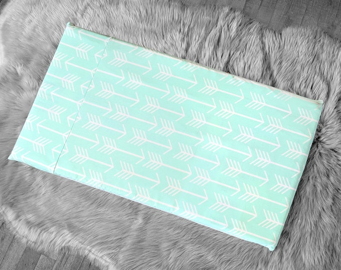 SALE Arrow Pattern IKEA HEMMAHOS Bench Pad Slip Cover, Mint Green