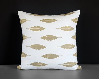 """Metallic Gold Feathers Pillow Cover 18"""" x 18"""""""