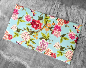 Turquoise Blue Red Flowers IKEA HEMMAHOS Bench Pad Slip Cover, Floral