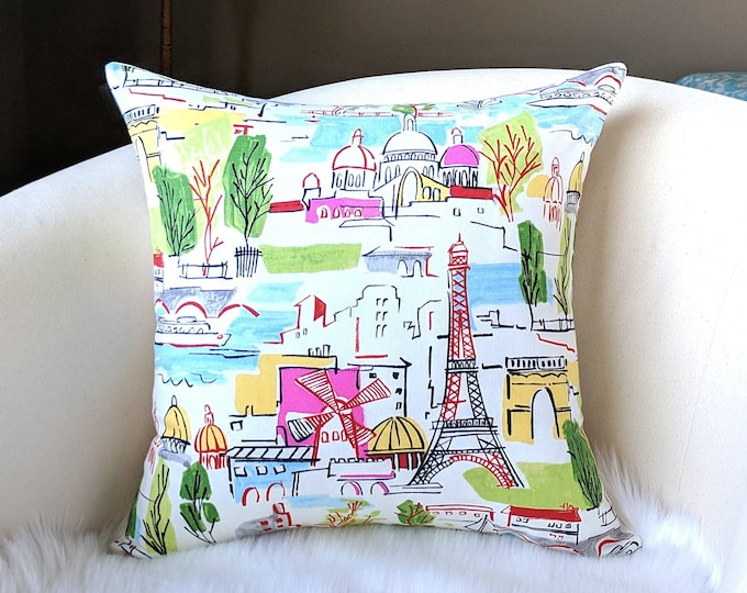 Colorful Moulin Rouge Paris City Pillow Cover, French Illustration, Painting