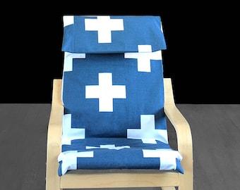 Navy Blue Cross IKEA KIDS POÄNG Cushion Slipcover