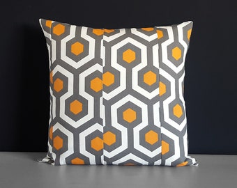 Patchwork Orange, Brown Honeycomb Geometric Print Pillow Cover