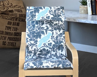 Indigo Blue Cockatoo Flower Print IKEA KIDS POÄNG Cushion Slip Cover