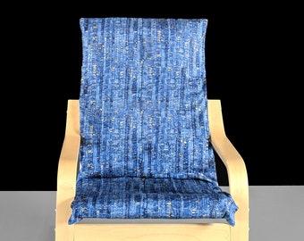 Blue Patterned Metallic Gold IKEA KIDS POÄNG Cushion Slipcover, Ready to Ship