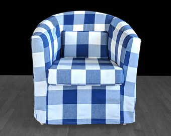IKEA Tullsta Slipcover, Large Plaid Buffalo Check Navy Blue Custom IKEA TULLSTA Chair Slip Cover