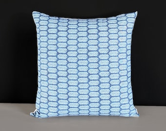 """Indigo Blue Small Feathers Pillow Cover 18"""" x 18"""""""