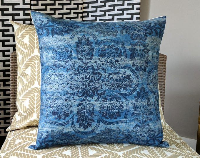 """Navy Blue Indian Pillow Cover, 18"""" x 18"""""""