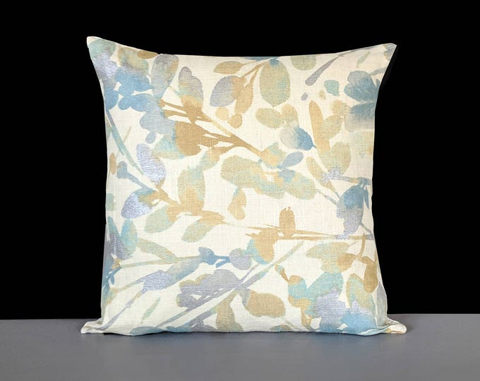 Metallic Gold, Blue, Beige Leaves Pillow Cover