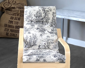 Linen French Toile Black Kids Ikea Poang Seat Cover